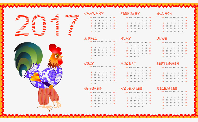 Calendario 2106.2017 Cartoon Calendar Cartoon Vector Calendar Vector 2017