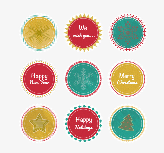 9 circular label vector material christmas and new year label vector christmas vector