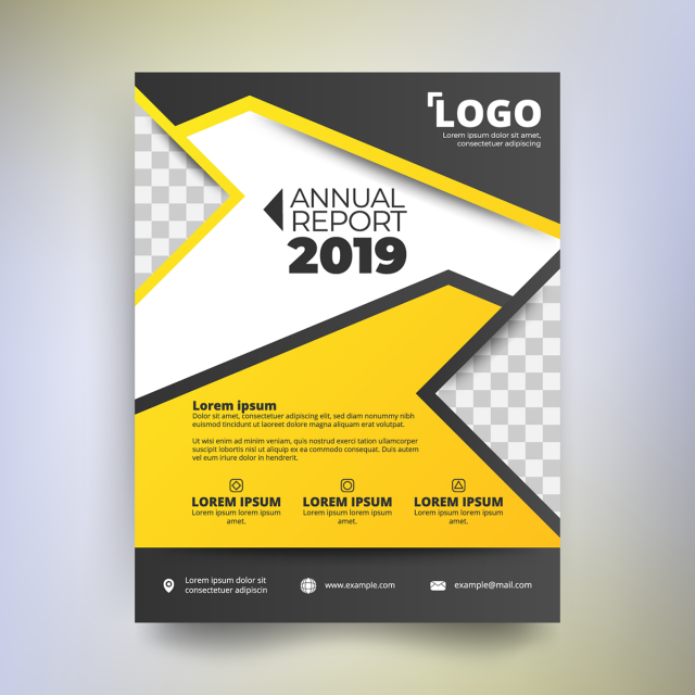 annual report template modern design with yellow and black tone