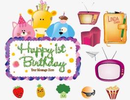 Cartoon Happy Birthday Vector Material Small Debris Cats PNG