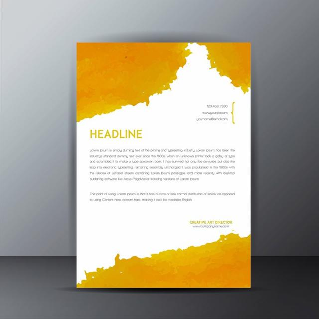 colorful watercolor splatter letterhead stationery template for free