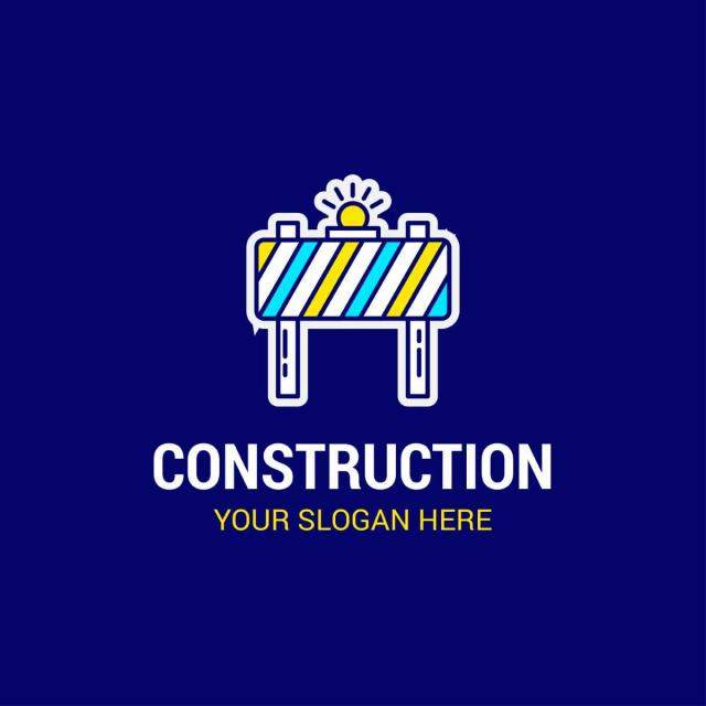construction logo design vector with dark background template for