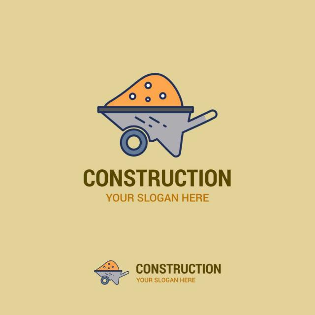 construction logo with typography vector template for free download