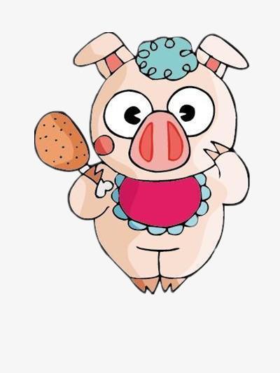 Makan Ayam Babi Kecil Haiwan Kartun Gambar Imej Png Dan Clipart