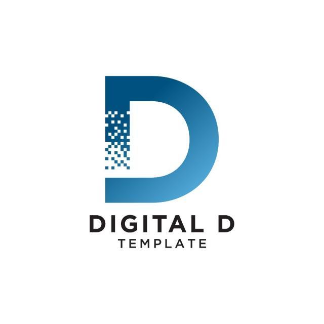 letter d pixels logo initial design template template for