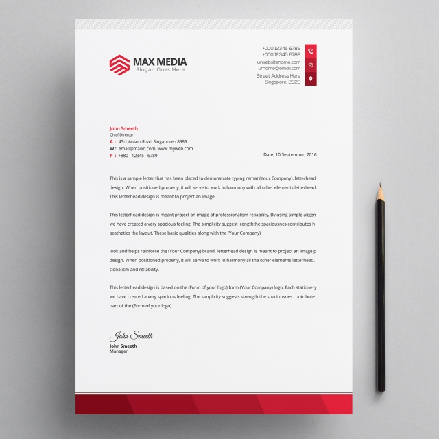 Modern Company Letterhead Psd Template Template For Free