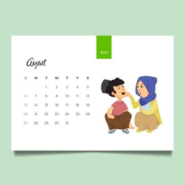 romantic muslim young family couple desk august calendar