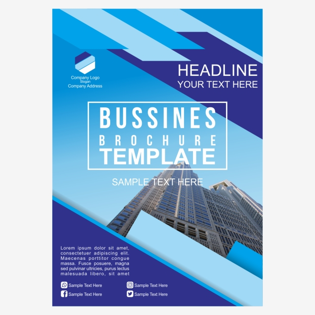 Simple Blue Business Brochure Template Template for Free