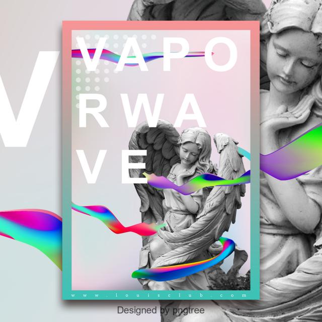 gradient fluid steam wave vapor wave fluid angel sculpture poster