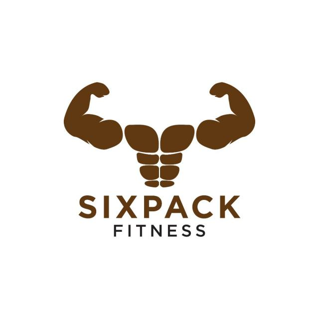 sixpack belly and strong muscle logo design template template for