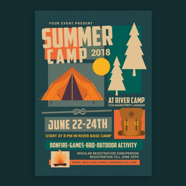 Summer Camp Flyer Template | Summer Camp Flyer Template For Free Download On Pngtree