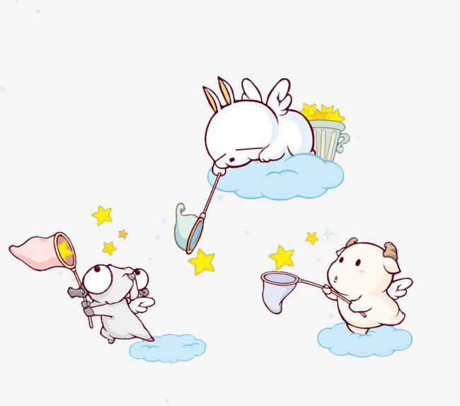 Engel Fangen Die Sterne Die Sterne Engel Cartoon Png Bild Und