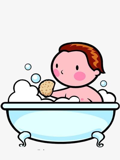 Bathing Boy, Boy Clipart, Cartoon, Bathtub PNG Image and ...