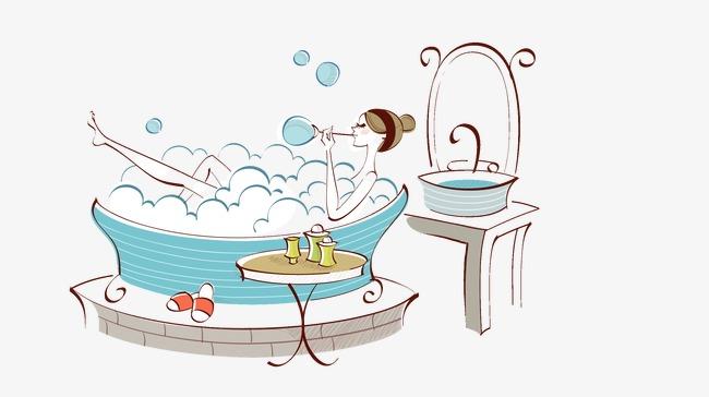 El Baño Chica Cuarto De Baño Ilustración Dibujo De Linea ...