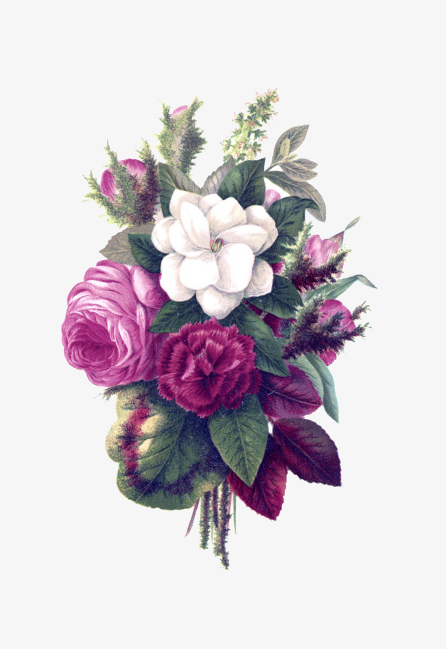 Magnifique Bouquet Violet Les Fleurs Rouge Les Feuilles Image Png