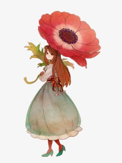 無料ダウンロードのための唯美イラストレーター 花 女の子 イラストpng