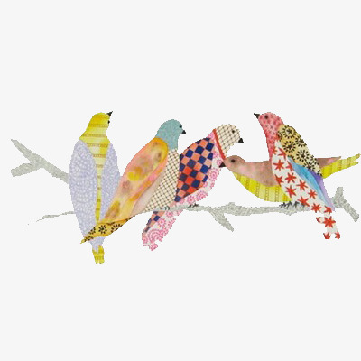 L Oiseau Sur La Branche Dessin Peint A La Main Crayon De Couleur