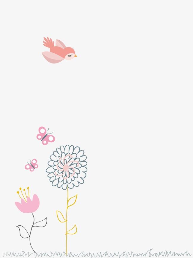 Pájaros Y Flores Mariposas Aves De Dibujos Animados De Mariposas Y