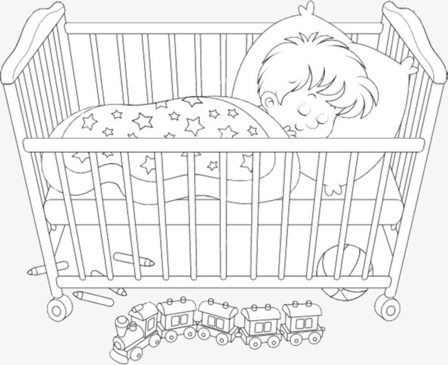Black And White Baby Bed Sleeping Baby Baby Clipart Monochrome