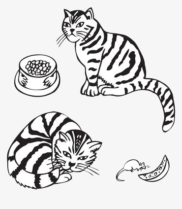 Black And White Cat With Food Cat Clipart Food Clipart Two Png