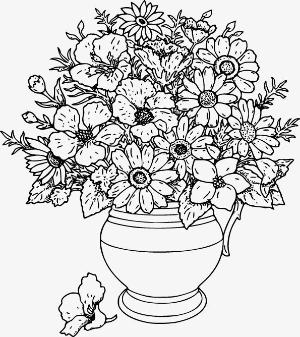 Die Schwarz Weiß Linie Zeichnen Die Vase Muster Die Schwarz Weiß