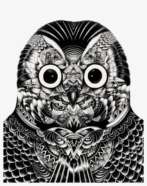Hitam Dan Putih Burung Hantu Avatar Hitam Dan Putih Seni Tangan