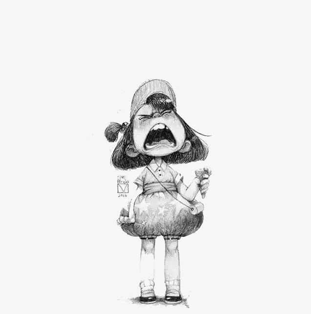 Dessin En Noir Et Blanc Pleure La Petite Fille Noir Et Blanc Croquis
