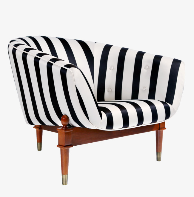 Black And White Striped Sofa Cozy Custom Made Png Image Clipart