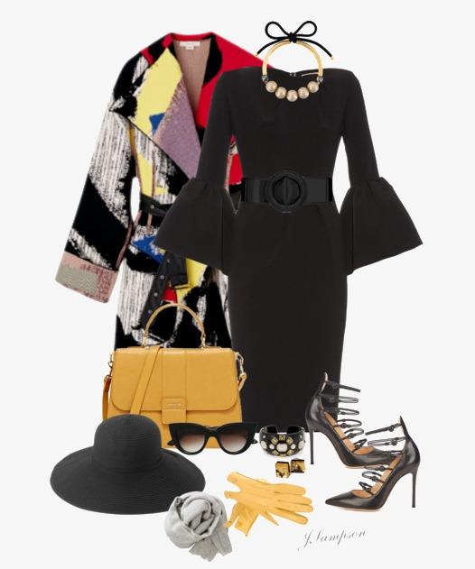 Schwarzes abendkleid accessoires
