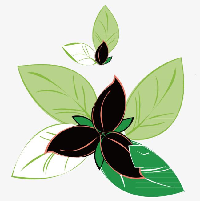 Flores Negras Con Hojas Verdes Leaf Vector Verde Png Y Vector Para