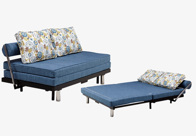 Blue Sofa Bed Small Apartment Simple Sofa Bed Folding Sofa Bed