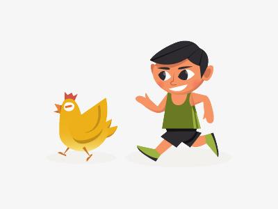 Mengejar Ayam Anak Laki Laki Kartun Anak Laki Laki Kartun Ayam Suka