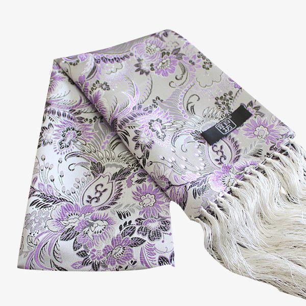Brocado Tejido Bufandas Bufanda Purple White Pattern Bufanda Roja ...