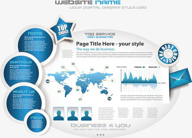 Business Page Vector Material Origami Website Business Vector