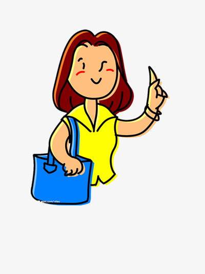 The lady carrying the shopping bag, lady clipart, bag clipart.