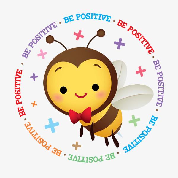 Kartun Lebah Corak Bulat Bee Positif Bekerja Keras Lebah Imej Png