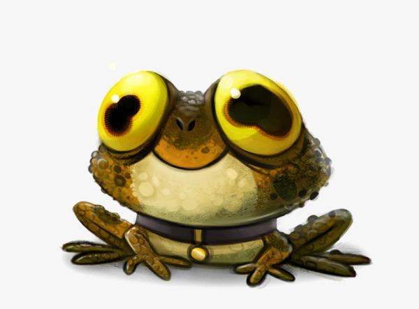 o sapo dos desenhos animados o amarelo olhos grandes linda png