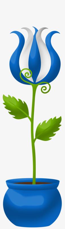 Cartoon Blue Flower Vase Cartoon Clipart Flower Clipart Blue