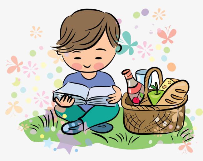 Kartun Budak Rumput Membaca Buku Rumput Bacaan Pembelajaran Imej Png