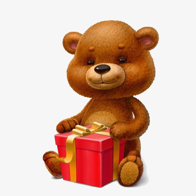 desenhos animados urso marrom bonito presente de natal presente de