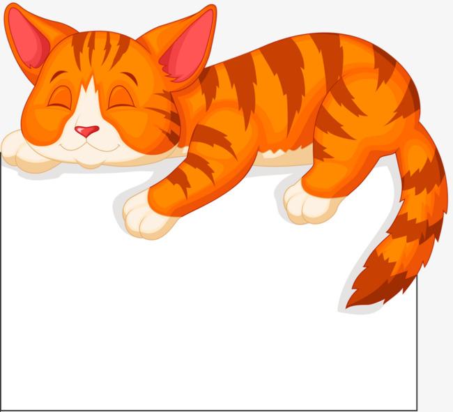 Kucing Kartun Kucing Kuning Tidur Comel Imej Png Dan Clipart Untuk