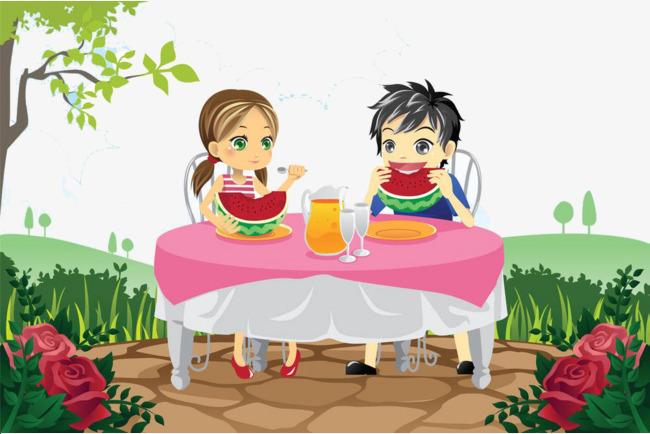 Personajes De Dibujos Animados Comer Sandía Cartoon
