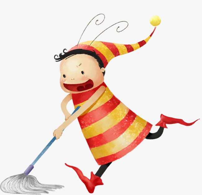 การ์ตูนสำหรับเด็ก ทำความสะอาด ทำความสะอาดครั้งใหญ่ ไม้ถู ...