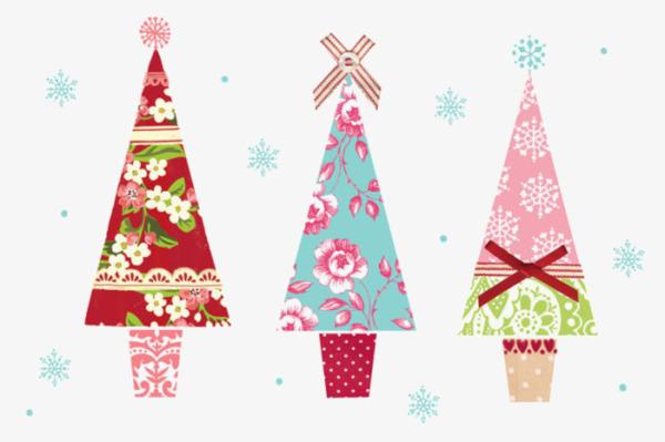 Cartoon Color Decorativo De Arbol De Navidad Pintado A Mano De ...