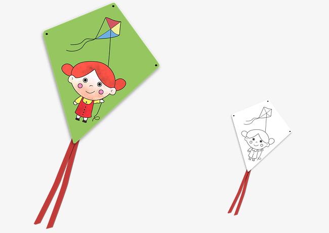 Cartoon DIY Niños Cometa De Papel Cartoon Kite Para Colorear Los ...