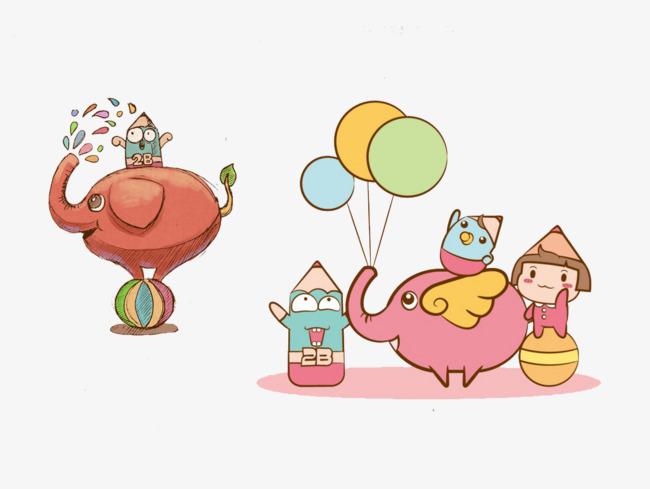 desenho de elefante fofo o balão elefante voador spray de água png