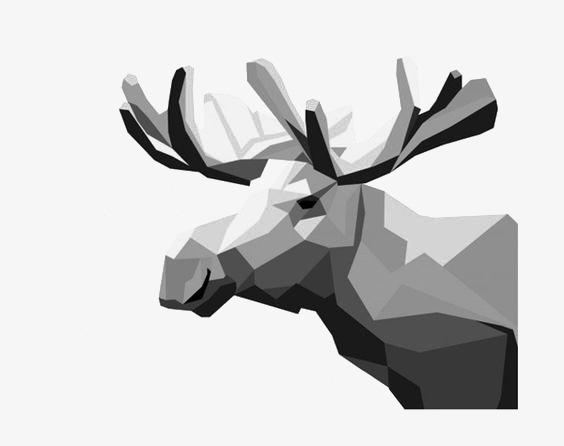 Le Dessin De L Elan Elk Geometrique Noir Et Blanc Image Png Pour Le