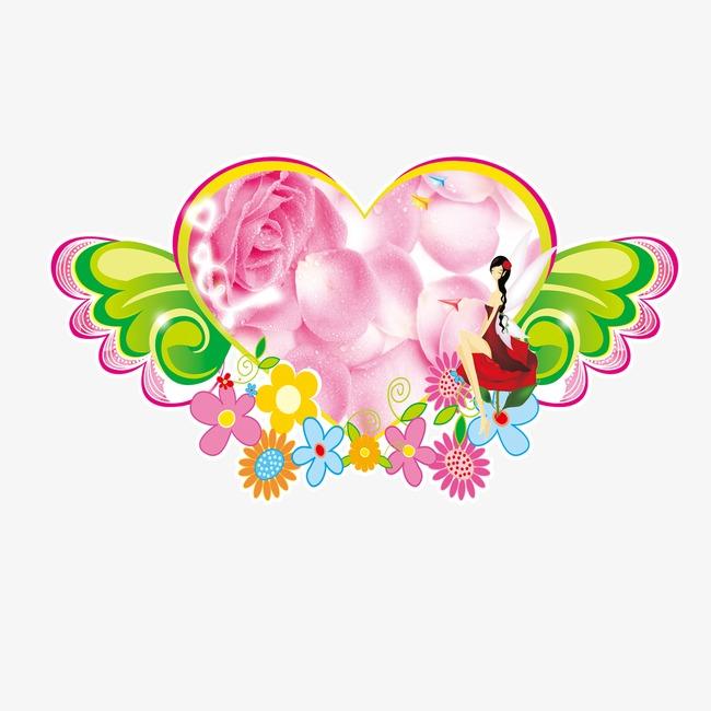 Dibujos De Flores En Forma De Corazon Con Alas Cartoon Flores En