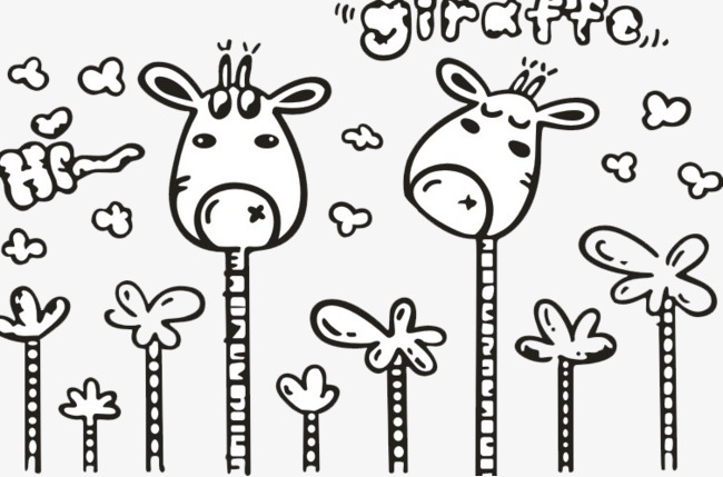 Dessin De La Girafe Girafe Mignon Noir Et Blanc Png Et Vecteur Pour