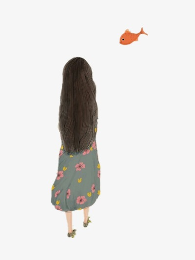 Comic Mädchen Fisch Von Hinten Lange Haare Png Bild Und Clipart Zum
